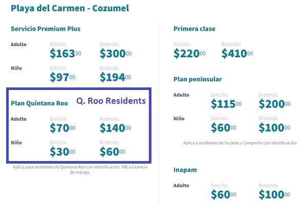 2017 Cozumel Ferry Prices ULTRAMAR