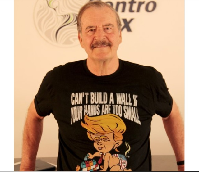 Former president vicente fox promotes donald trump for American leadership academy friday shirts
