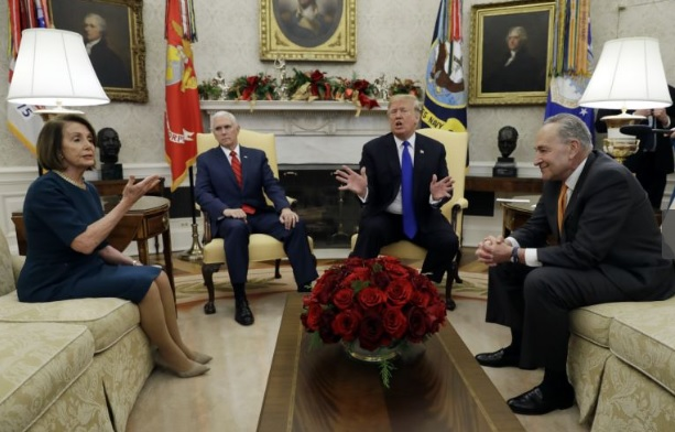 Donald Trump clashes with Democratic leaders during live press conference in the Oval Office